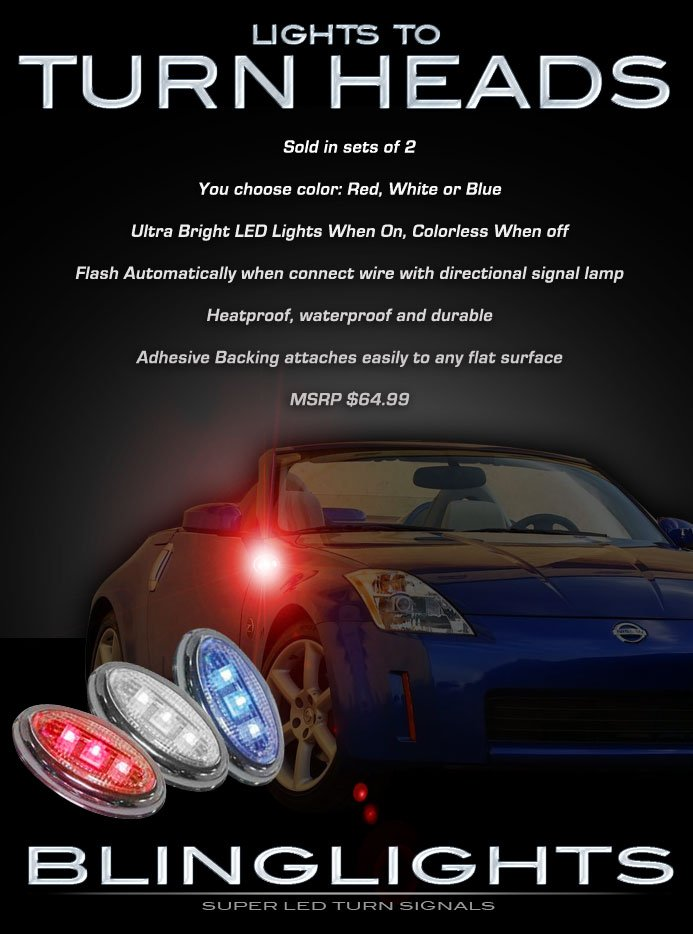Nissan 350Z LED Turnsignals Turn Signals Lamps Signalers Lights 2003 2004 2005 2006 2007 2008 2009