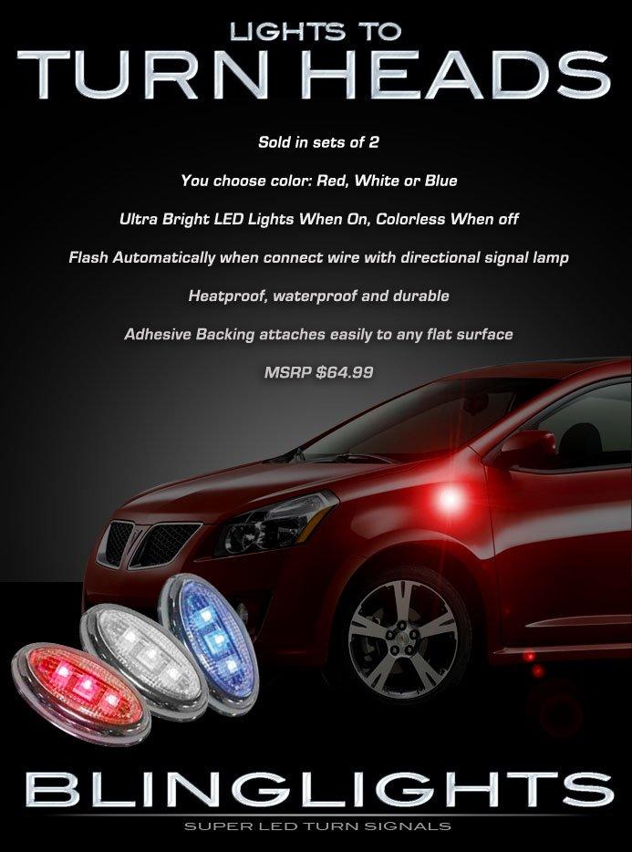 Toyota Matrix LED Side Marker Turnsignal Lights Accent Turn Signal Lamps Signalers Markers Accents