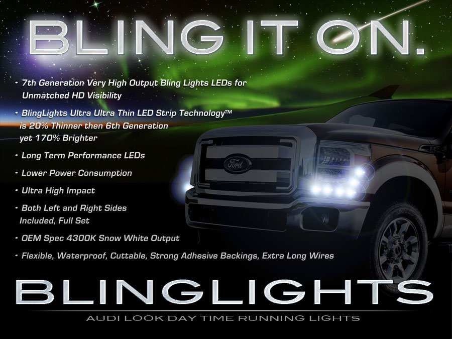 Ford Excursion LED DRL Light Strips Headlamps Headlights Head Lights Strip Lamps LEDs Light DRLs