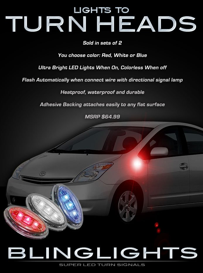 Toyota Prius LED Side Marker Turnsignals Lights Accent Lamp Turn Signal Signalers Turnsignal Markers