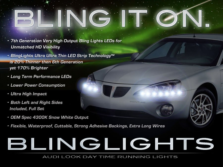 Pontiac Grand Prix LED DRL Light Strips for Headlamps Headlights Head Lamps LEDs DRLs Strip Lights
