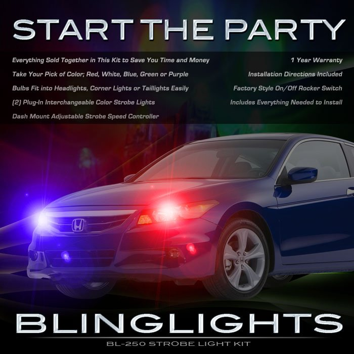 Honda Accord Head Lamps Xenon Strobe Light Kit Red Blue White Purple Green