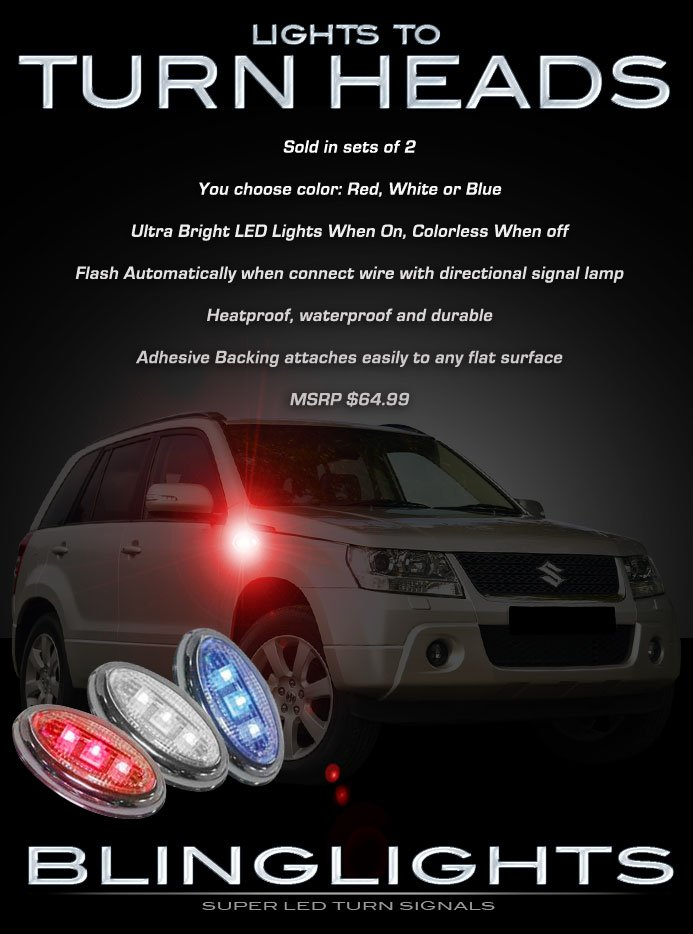 Suzuki Grand Vitara LED Side Markers Turnsignals Lights Accents Turn Signals Lamps Signalers Set