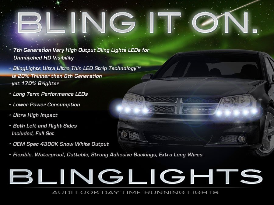Dodge Avenger LED DRL Strip Lights for Headlamps Headlights Head Lamps LEDs Light Strips DRLs