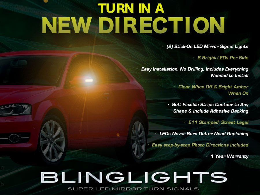 Audi A3 LED Side View Mirror Turnsignal Lights Mirrors Turn Signal Lamps Signalers Accents