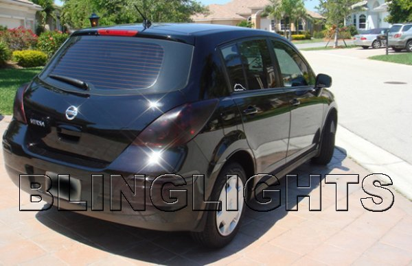 2005-2011 Nissan Tiida Hatchback Tint Smoke Overlays for Taillamps Taillights Tail Lamps Lights