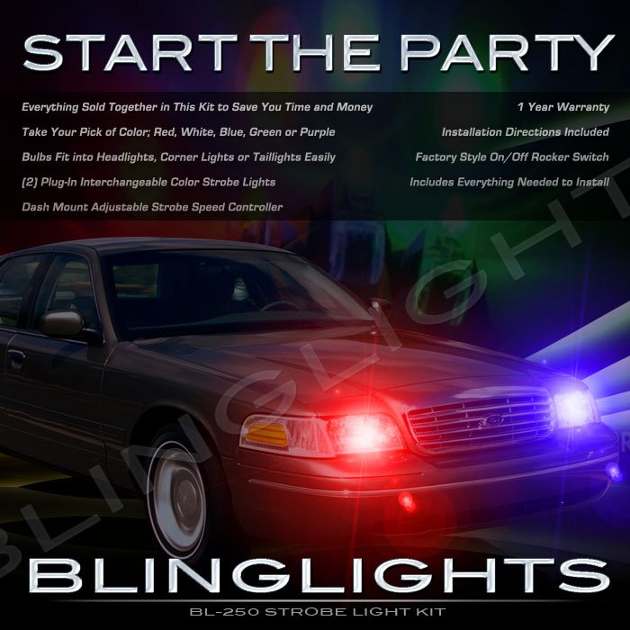 Lincoln Town Car Strobe Police Light Kit for Headlamps Headlights Head Lamps Strobes Lights