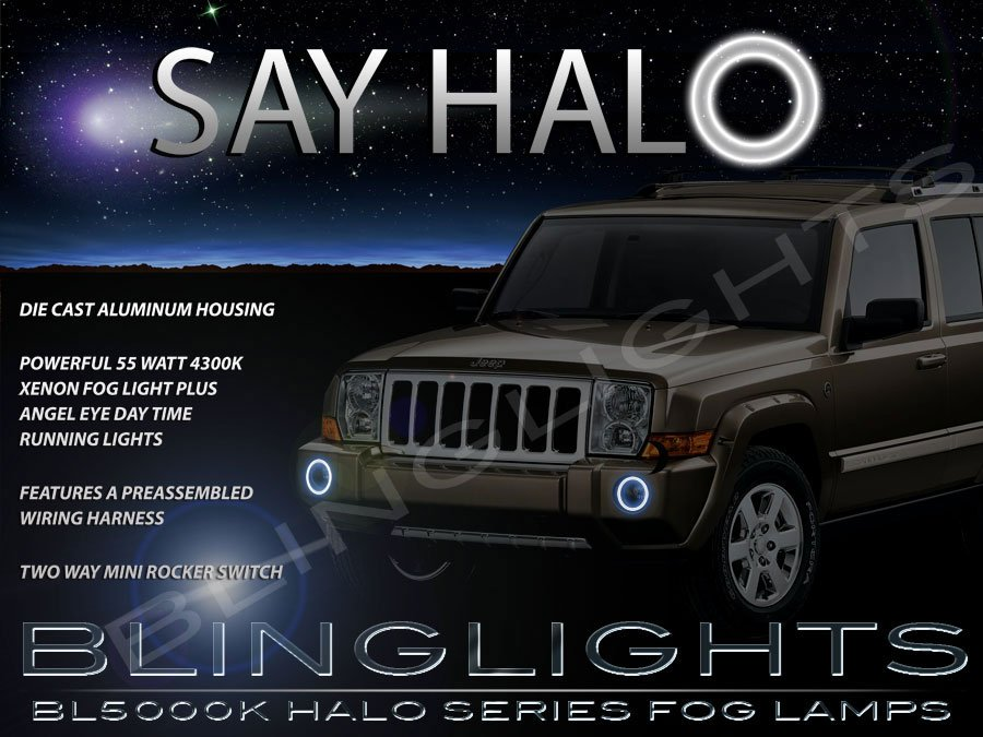 2006-2010 Jeep Commander Halo Angel Eye Bumper Fog Lamps Lights Kit
