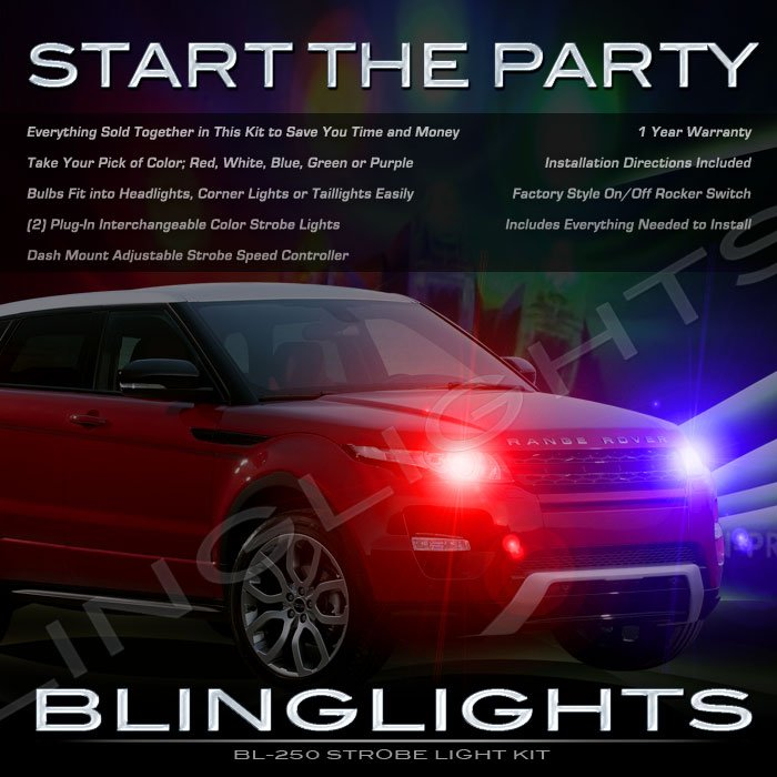 2012 2013 Land Range Rover Evoque Strobe Police Light Kit for Headlamps Headlights Head Lamps Lights