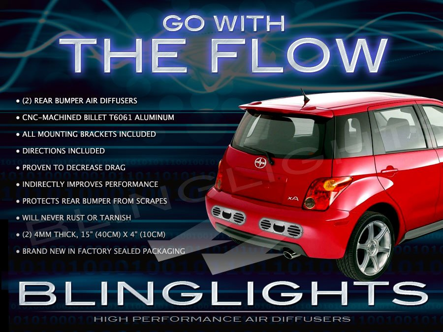 2004 2005 2006 Scion xA RS Custom JDM Rear Bumper Performance Air Diffuser Body Exhaust Panels Kit