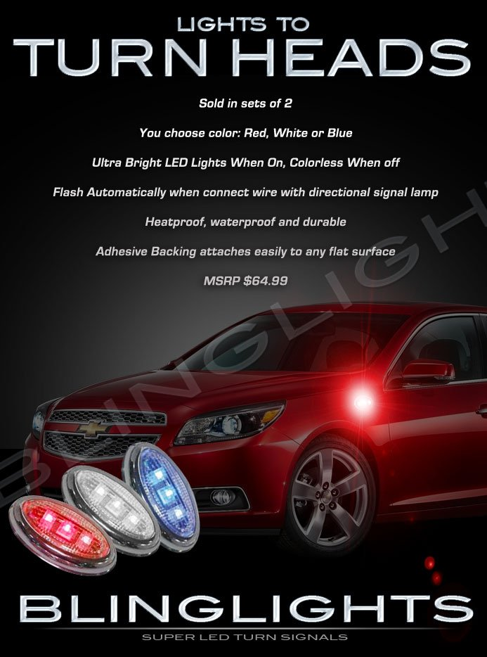 Chevrolet Chevy Malibu LED Side Accent Marker Turnsignal Lights Turn Signal Lamps Signalers Markers