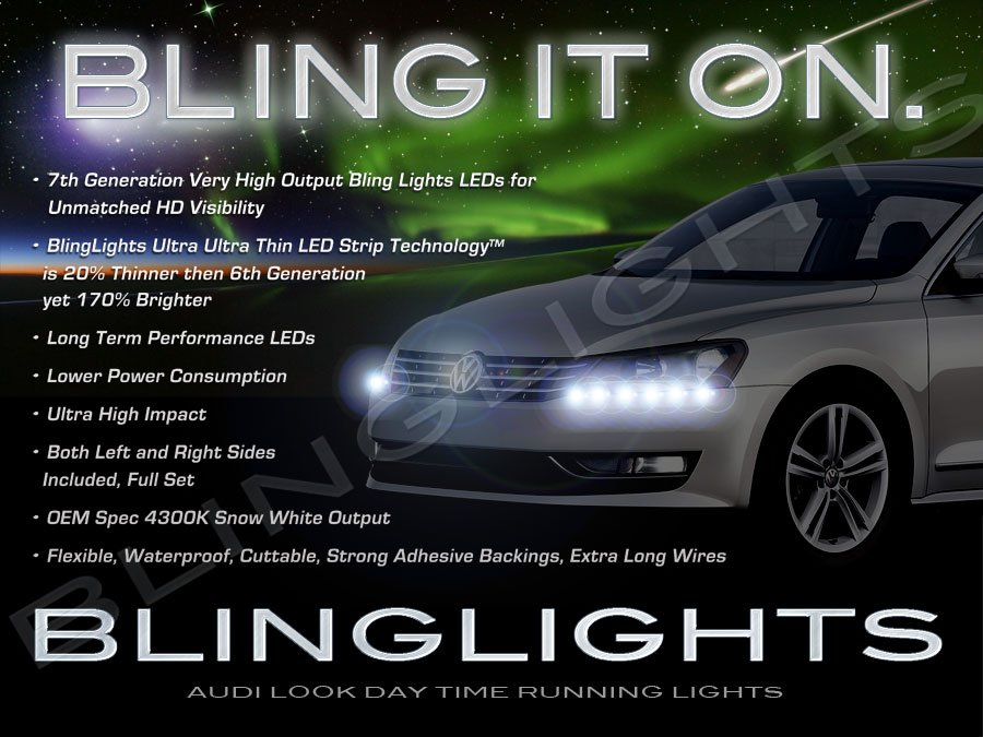 2011 2012 2013 Volkswagen VW Passat B7 NMS LED DRL Strips Day Time Running Lamps Strip Lights