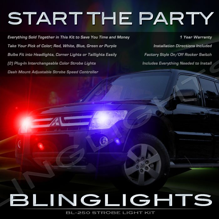 Mitsubishi Montero Strobe Police Light Kit for Headlamps Headlights Head Lamps Lights Strobes