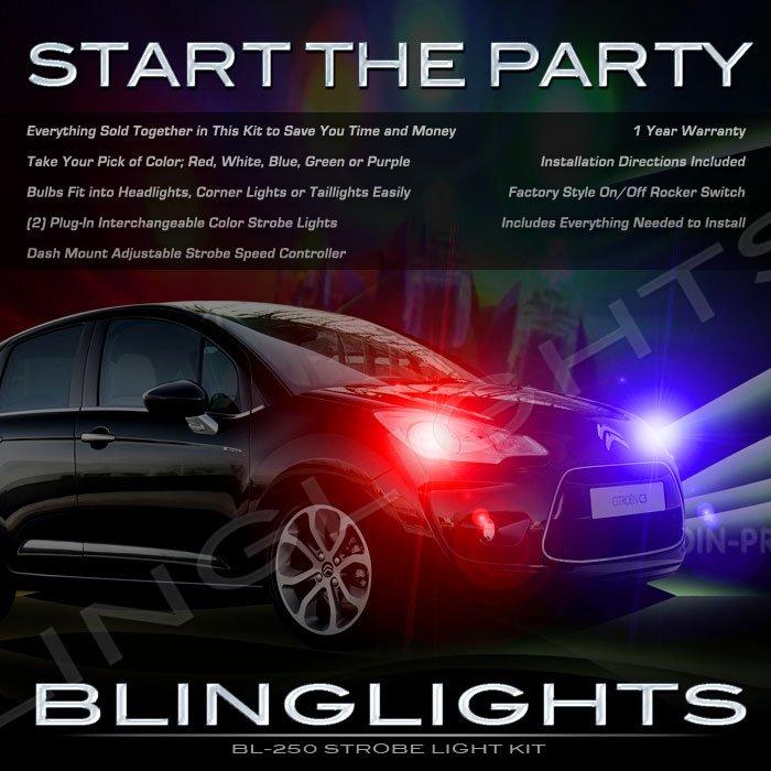 Citroen Citroën C3 Strobe Police Light Kit for Headlamps Headlights Head Lamps Lights Strobes