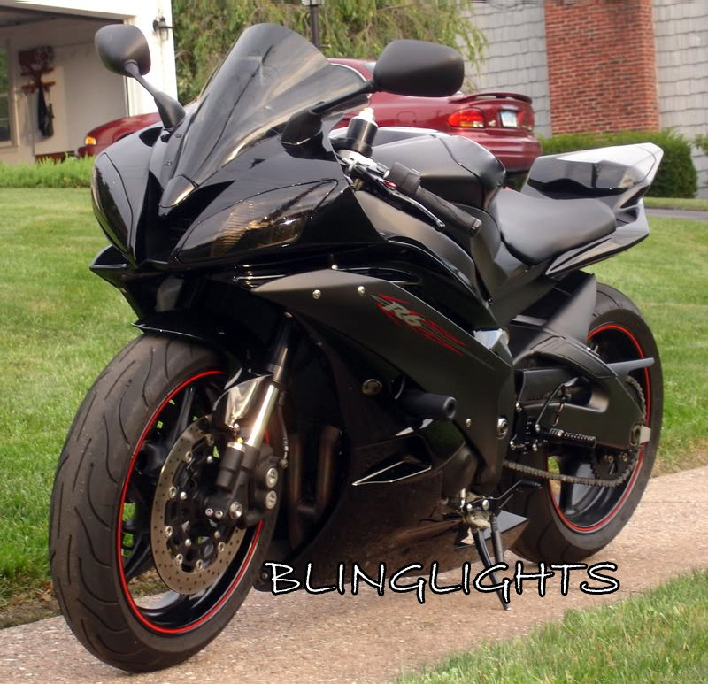 2001 2002 Yamaha R6 YZF-R6 Tinted Smoked Protection Overlays for Headlamps Headlights Head Lamps