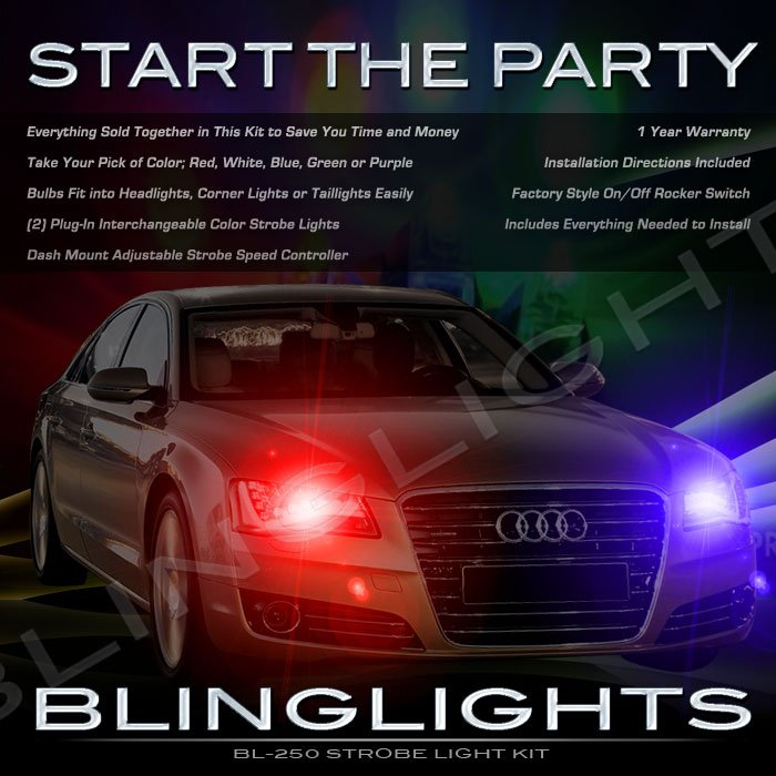 Audi A8 S8 Strobe Police Light Kit for Headlamps Headlights Head Lamps Strobes Lights