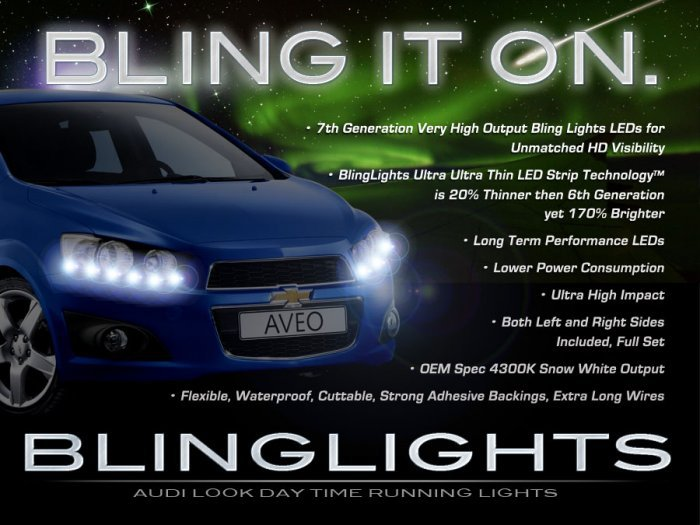 Chevrolet Chevy Lova LED DRL Light Strips Headlamps Headlights Head Lamps Day Time Running Lights