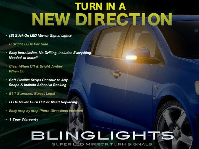 Chevrolet Chevy Kalos LED Side Mirrors Turnsignals Lights Turn Signals Mirror Signalers Lamps