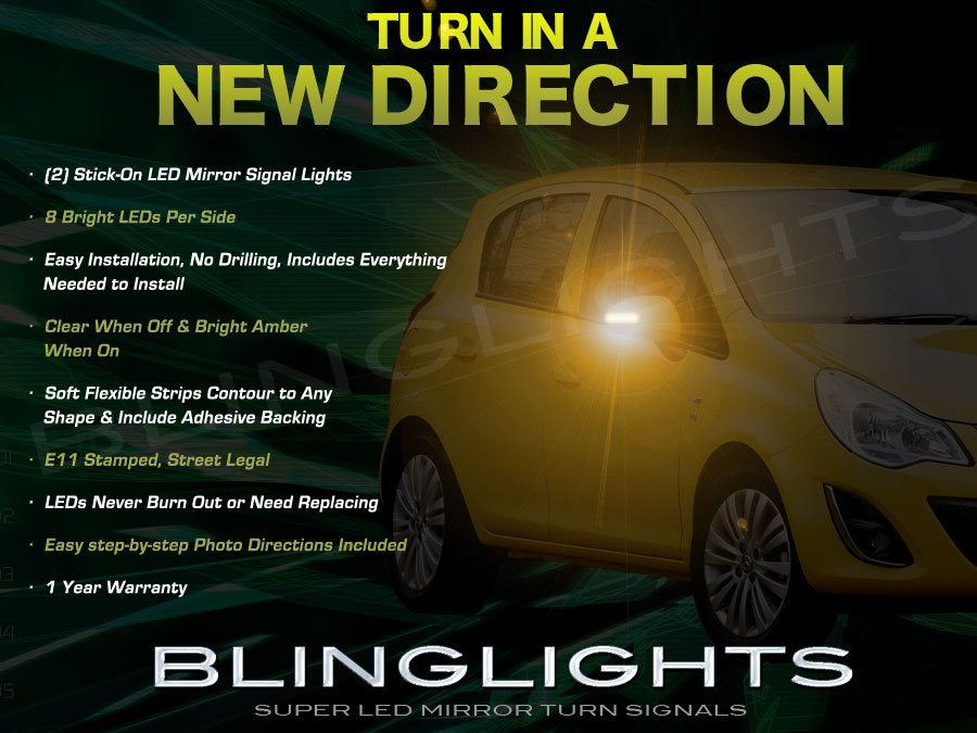 Vauxhall Meriva LED Side Mirrors Turnsignals Lights Mirror Turn Signals Lamps Signalers Accents