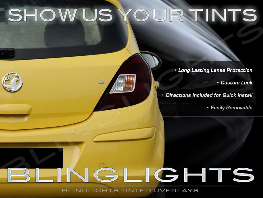 Opel Corsa Tinted Smoked Protection Overlays Film for Taillamps Taillights Tail Lamps Lights