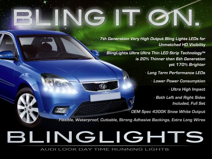 Kia New Pride LED DRL Light Strips for Headlamps Headlights Head Lamps Day Time Running Lights