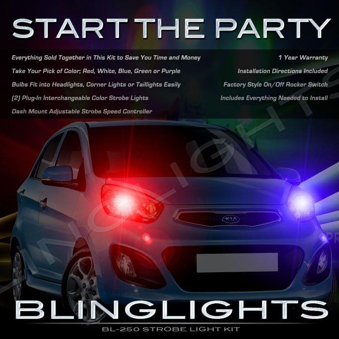 Kia New Morning Strobe Police Light Kit for Headlamps Headlights Head Lamps Strobes Lights