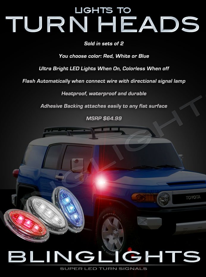 2007-2013 Toyota FJ Cruiser LED Side Markers Turnsignals Lights Turn Signals Lamps Signalers Accents