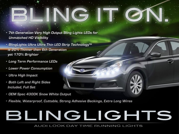 Subaru Liberty LED DRL Light Strips for Headlamps Headlights Head Lamps Day Time Running Lights