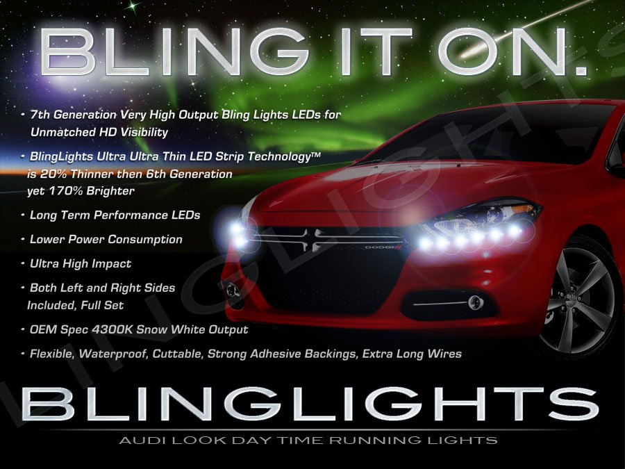 Dodge Dart LED DRL Light Strips for Headlamps Headlights Head Lamps Day Time Running Lights