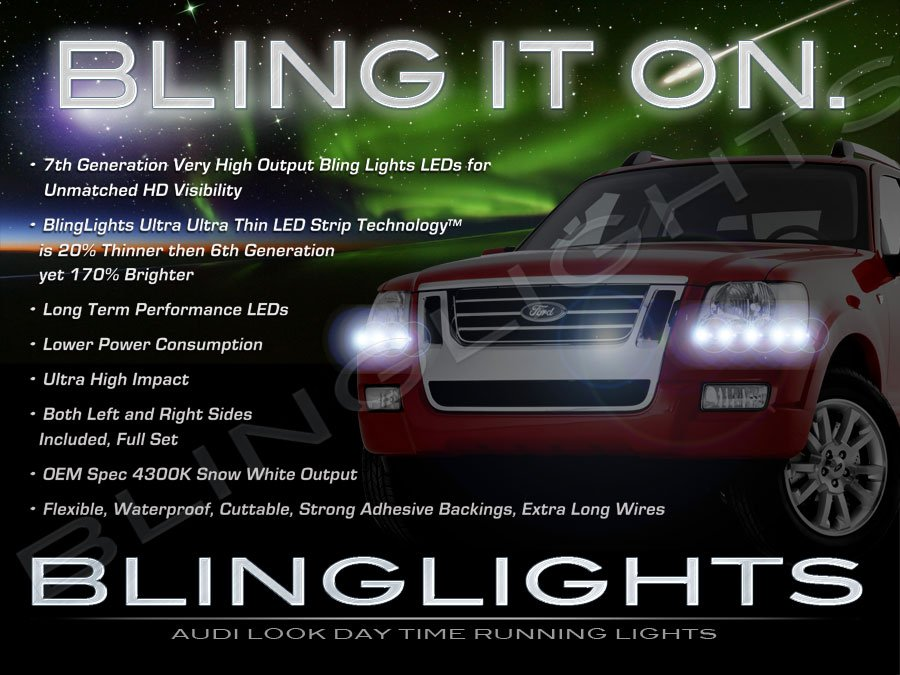 Ford Sport Trac LED DRL Light Strips for Headlamps Headlights Head Lamps Day Time Running Lights