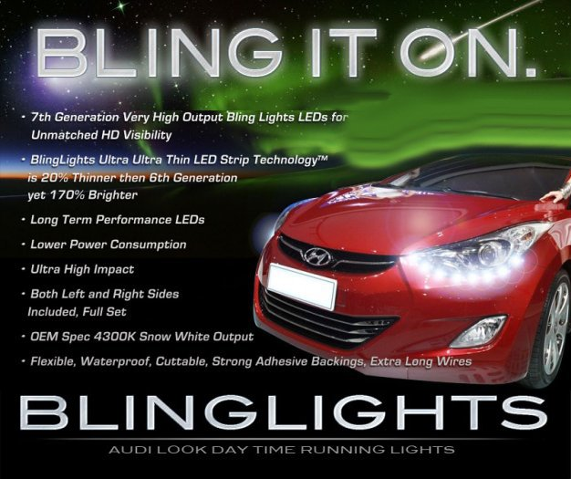 2011-2014 Hyundai Elantra LED DRL Head Light Strips Kit Day Time Running Lamps