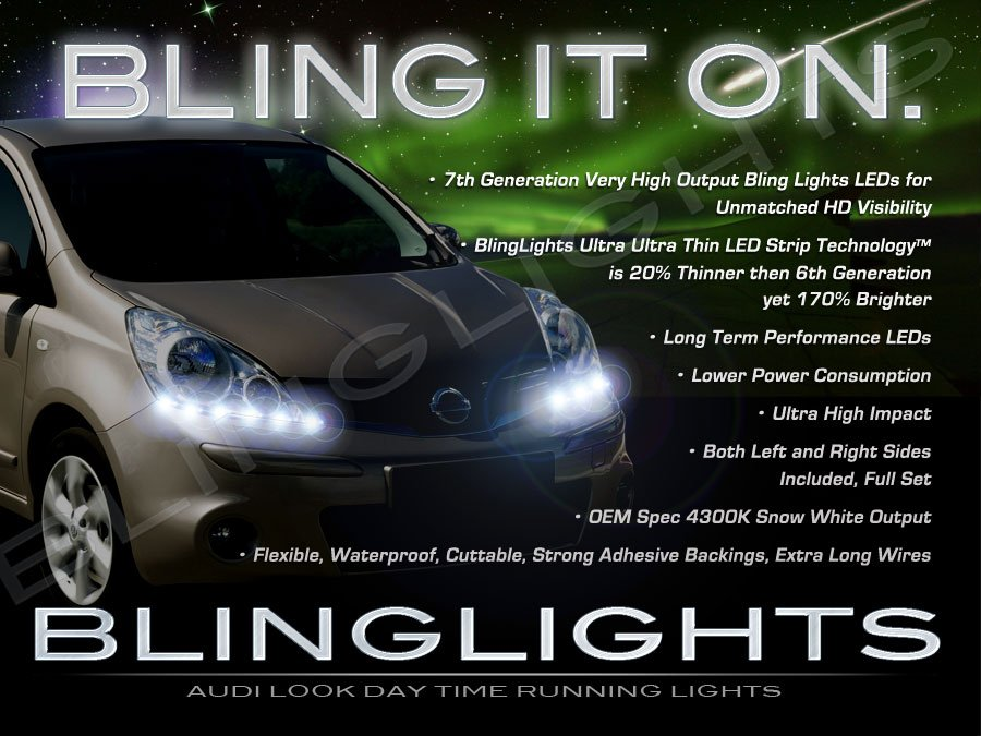 Nissan Note LED DRL Head Lamp Light Strips Day Time Running Kit