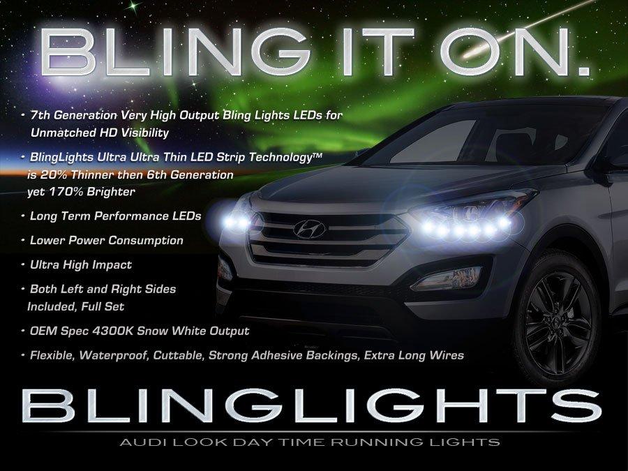 Hyundai Santa Fe LED DRL Head Light Strips Daytime Running Lamps (all years)