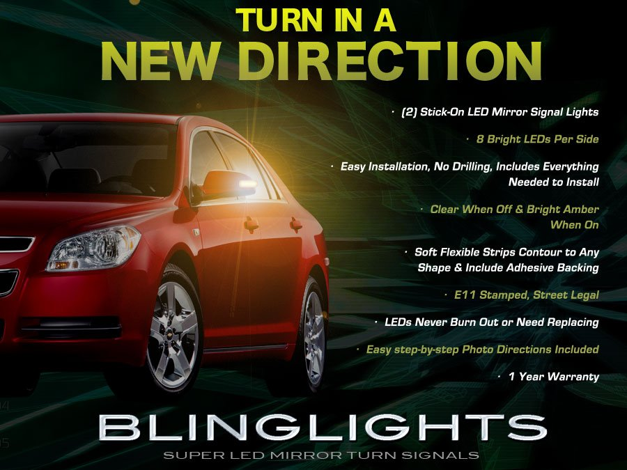 Chevrolet Chevy Malibu Side Mirrors Turnsignals Lights LED Turn Signals Lamps Mirror Signalers Set