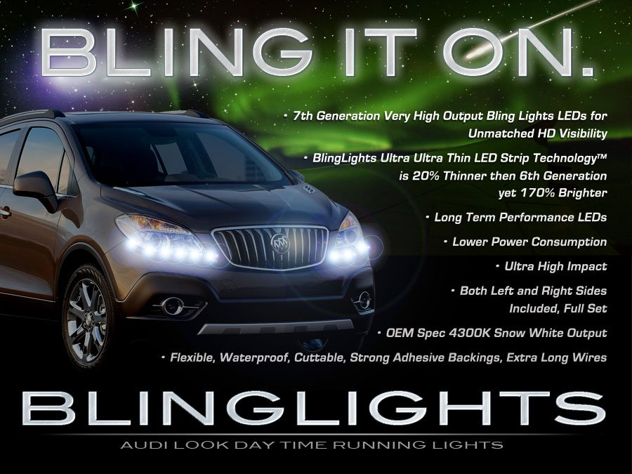 Buick Encore LED DRL Light Strips Day Time Running Lamps for Headlamps Headlights Strip Lights