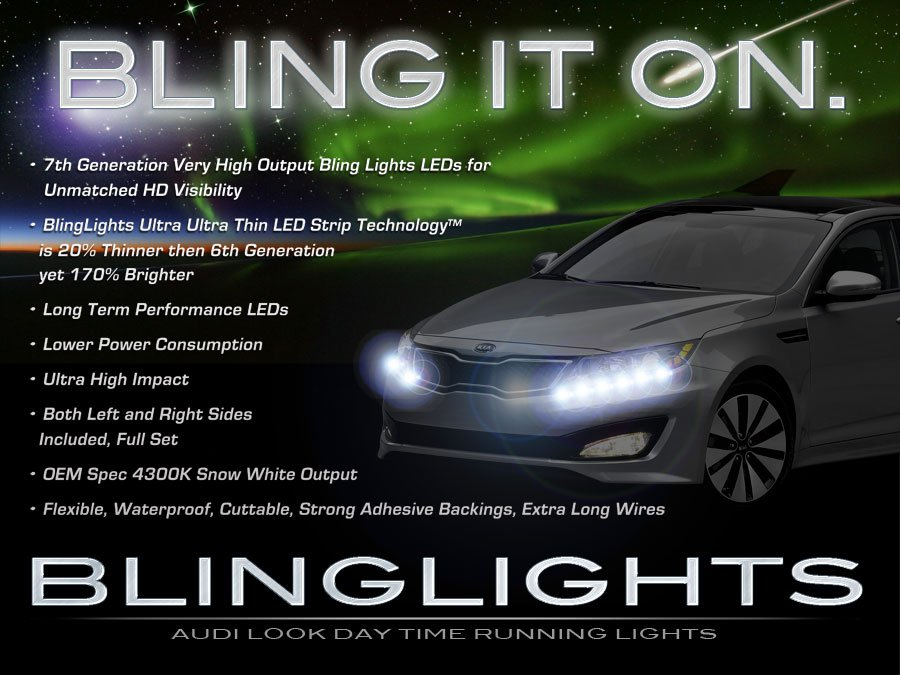 Kia Optima LED DRL Head Light Strips Day Time Running Lamps
