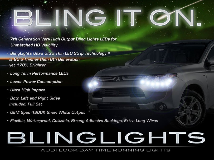 Mitsubishi Outlander and Sport LED DRL Head Light Strips Daytime Running Lamps Kit