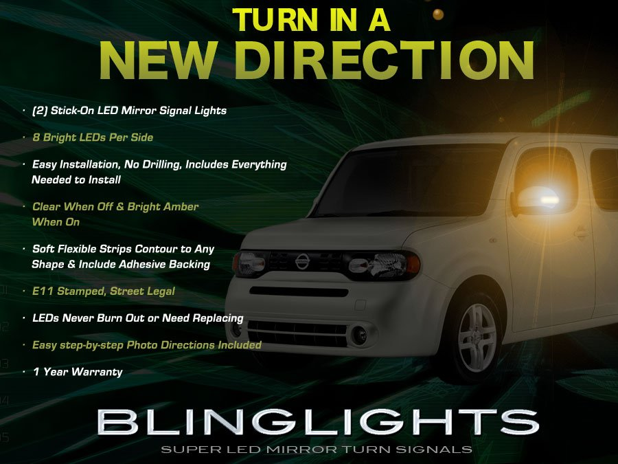 Nissan Cube LED Side Mirrors Turn Signal Light Lamp Kit Turnsignals