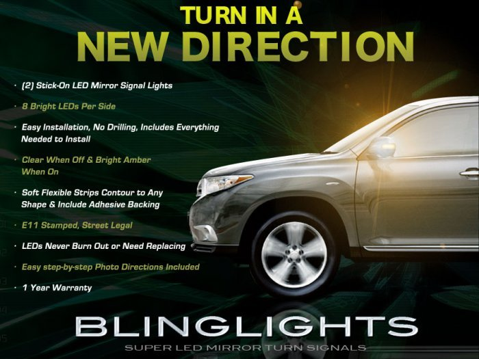2011 2012 2013 Toyota Highlander LED Mirror Turnsignal Lights
