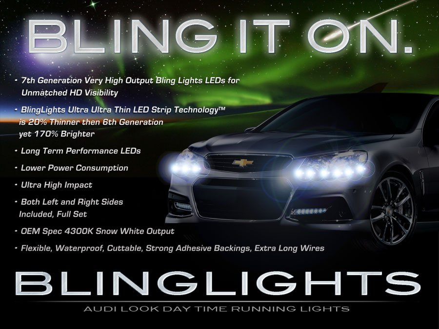 Chevy SS LED DRL Head Lamp Light Strips Day Time Running Kit
