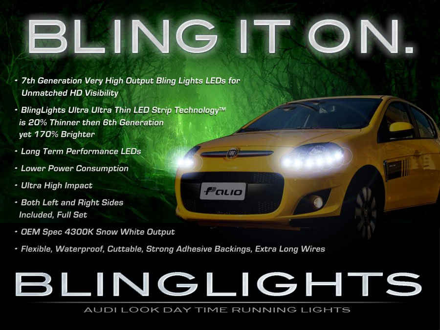 Fiat Palio LED DRL Head Light Strips Day Time Running Lamp Kit