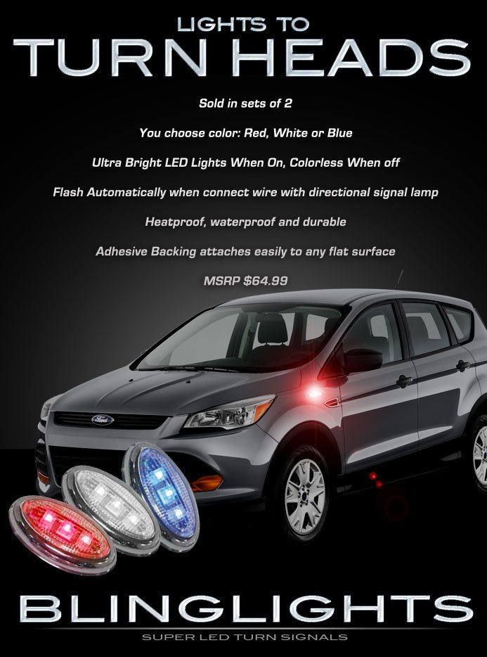 Ford Kuga LED Flushmount Turn Signal Accent Lamp Lights Side Marker Turnsignaler Kit