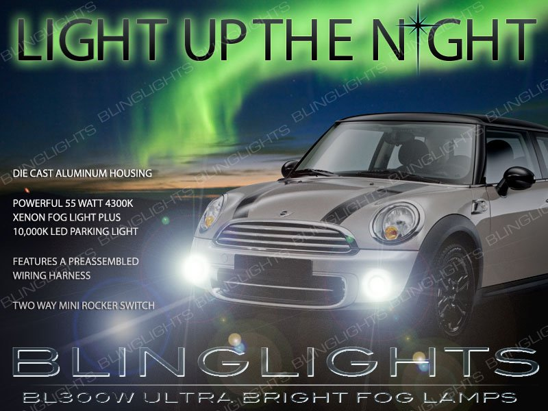 2007-2015 Mini Cooper Xenon Fog Lamp Driving Light Kit r55 r56 r57 r58 r59 r60