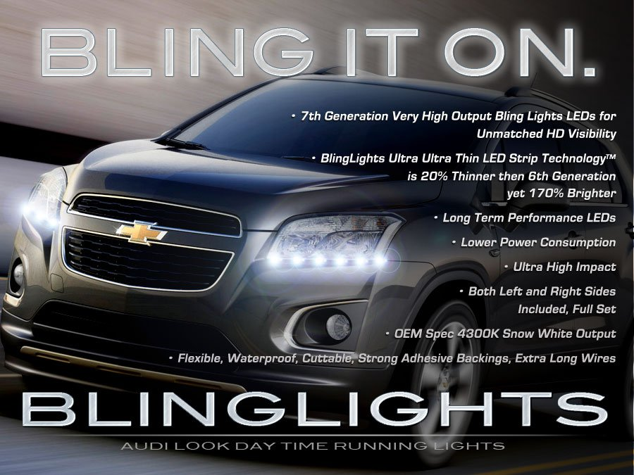 Chevy Trax LED DRL Head Light Strips Day Time Running Lamps Kit Chevrolet