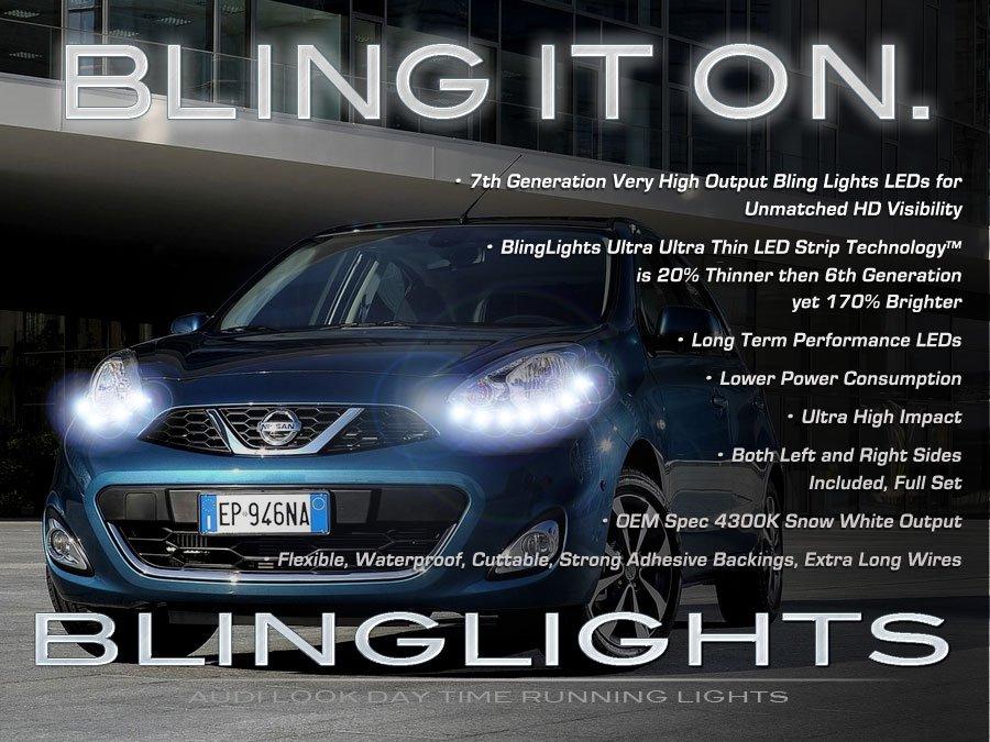 Nissan March LED Day Time Running Lamps Light Strips K11 K12 K13 Set Pair