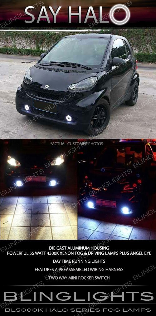 2008-2015 Smart Fortwo Halo Fog Lamp Driving Light Kit Angel Eyes Pair w164 w204 w216 w451
