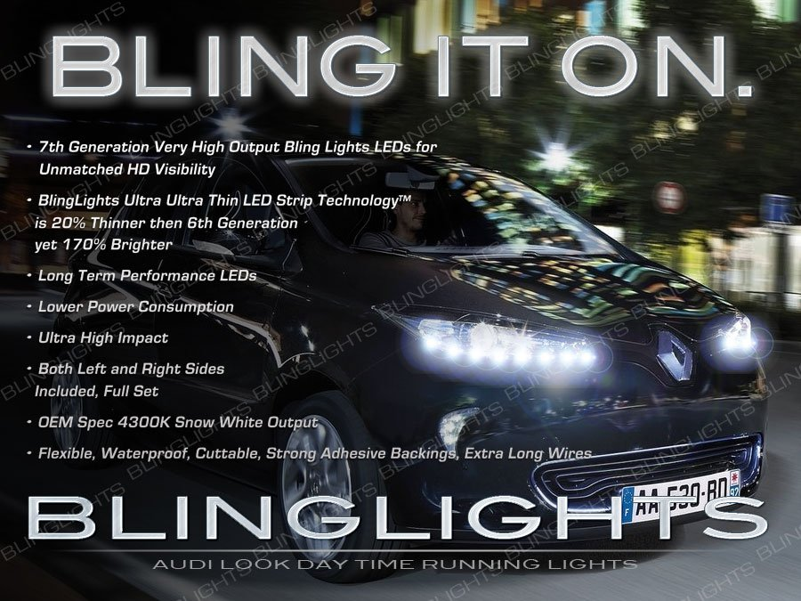 Renault Zoe LED DRL Head Light Strips Day Time Running Lamp Kit
