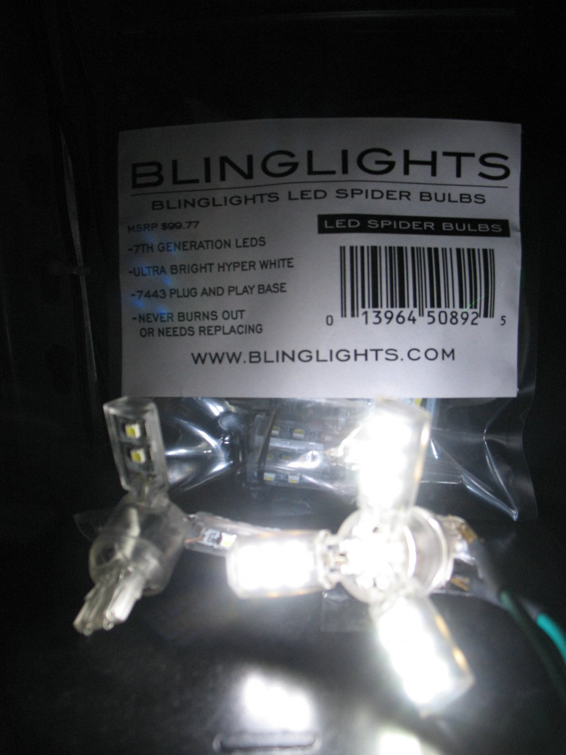White 7443 Dimmable Spider Lite Bulbs Brake Tail Lamp Light Bulbs LED 3-Arms