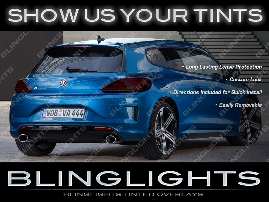 VW Scirocco R Murdered Out Tail Lights Overlays Kit Smoked Lamp Lense Covers Volkswagen