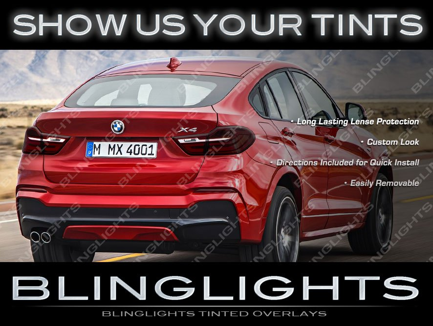 BMW X4 Smoked Taillights Overlay Covers Murdered Out Taillamps Film Kit